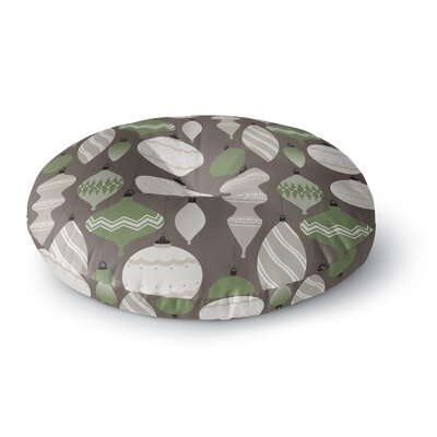 Mixed Ornaments Round Floor Pillow Size: 26 x 26, Color: Brown/Green