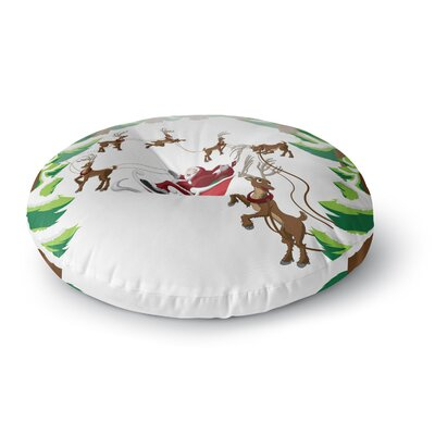 Forest Sleigh Scene Holiday Illustration Round Floor Pillow Size: 26 x 26
