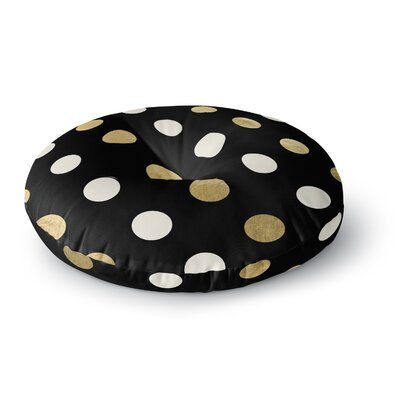 Golden Dots Round Floor Pillow Size: 26 x 26