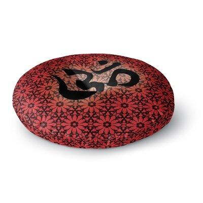 Om Round Floor Pillow Size: 26 x 26, Color: Orange