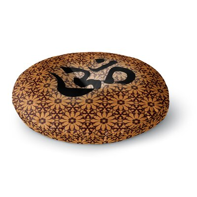 Om Round Floor Pillow Size: 23 x 23, Color: Red
