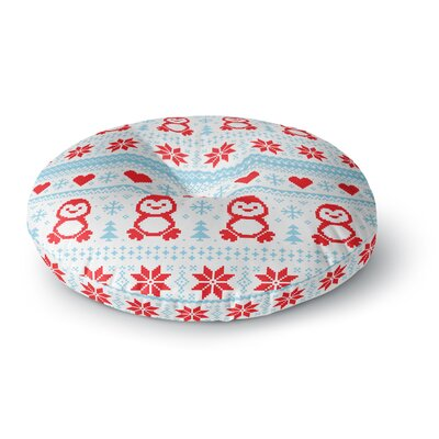 Pixel Penguin Holiday Christmas Pattern Round Floor Pillow Size: 23 x 23