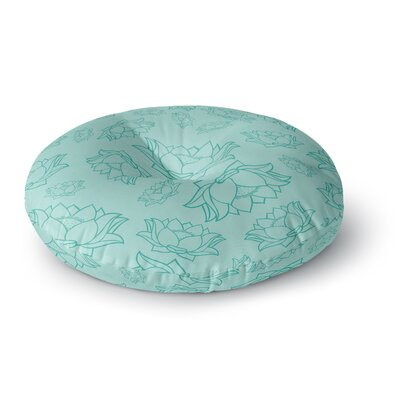 Lotus Pattern - Coral Floral Round Floor Pillow Size: 26 x 26, Color: Teal