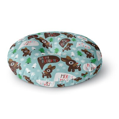 Cheerful Reindeer Round Floor Pillow Size: 26 x 26