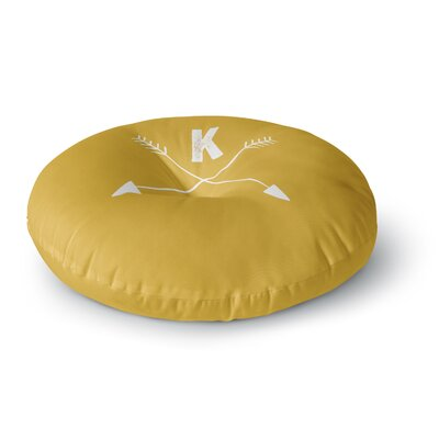 Arrow Monogram Round Floor Pillow Size: 26 x 26, Color: Gold