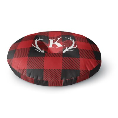 Plaid Monogram Round Floor Pillow Size: 23 x 23