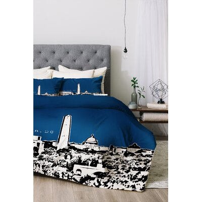 Washington Duvet Cover Set Color: Navy, Size: King