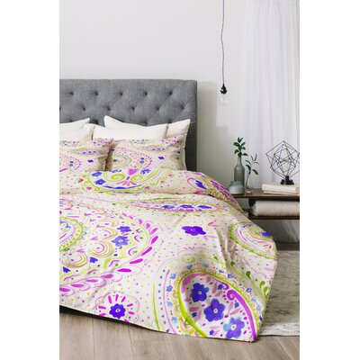 Watercolor Paisley Duvet Cover Set Color: Purple, Size: Queen