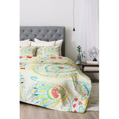 Watercolor Paisley Duvet Cover Set Size: Twin/Twin XL, Color: Teal