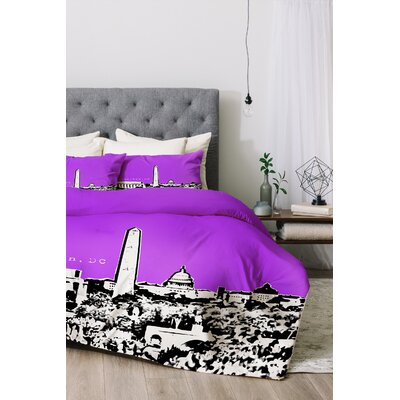 Washington Duvet Cover Set Size: Queen, Color: Purple