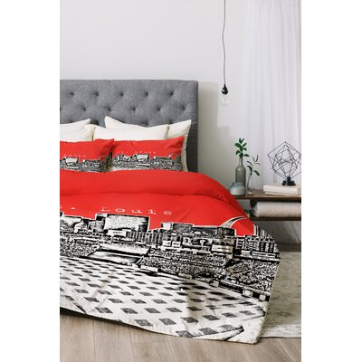 St Louis Duvet Cover Set Color: Red, Size: Twin/Twin XL
