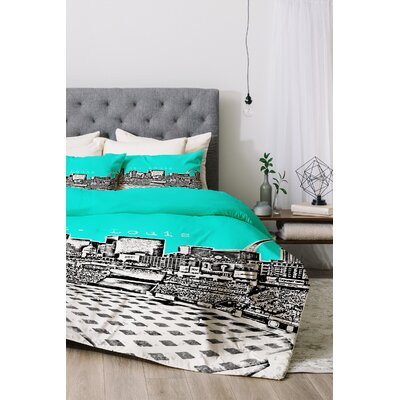 St Louis Duvet Cover Set Color: Aqua, Size: Twin/Twin XL