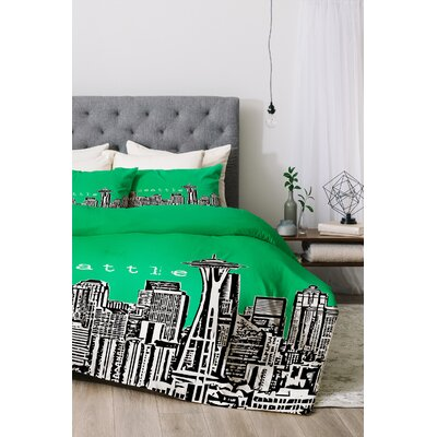 Seattle Duvet Cover Set Color: Green, Size: King