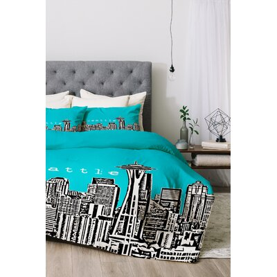 Seattle Duvet Cover Set Color: Teal, Size: Twin/Twin XL