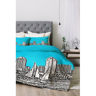 San Diego Duvet Cover Set Color: Sky, Size: King