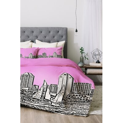 San Diego Duvet Cover Set Size: Queen, Color: Pink