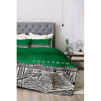 Portland Duvet Cover Set Color: Green, Size: Queen