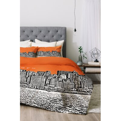 New York Duvet Cover Set Size: King, Color: Orange