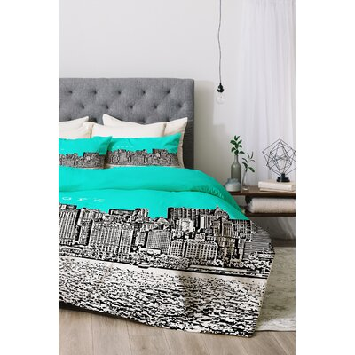 New York Duvet Cover Set Color: Aqua, Size: Queen