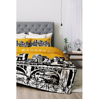 Minneapolis Duvet Cover Set Color: Yellow, Size: Queen