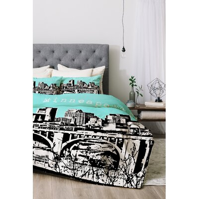 Minneapolis Duvet Cover Set Color: Sky, Size: Queen