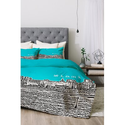 Miami Duvet Cover Set Color: Teal, Size: Twin/Twin XL