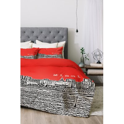 Miami Duvet Cover Set Color: Red, Size: Queen