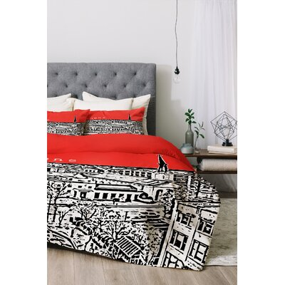 Athens Duvet Cover Set Color: Red, Size: Twin/Twin XL