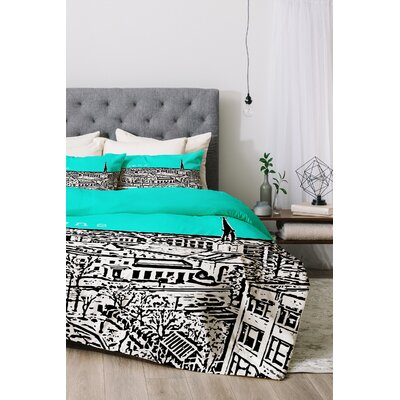 Athens Duvet Cover Set Size: Queen, Color: Aqua
