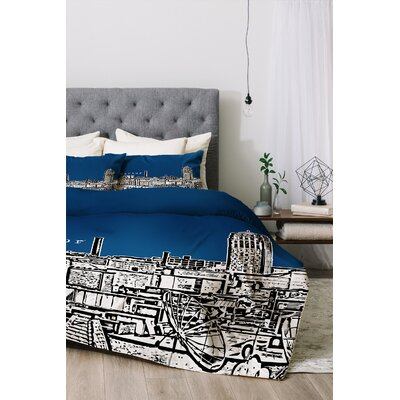 Ann Arbor Duvet Cover Set Color: Navy, Size: King