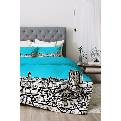 Ann Arbor Duvet Cover Set Color: Sky, Size: King