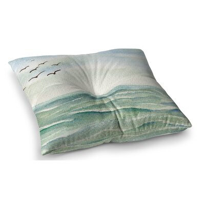 Flock Flying Low Coastal by Cyndi Steen Floor Pillow Size: 26 x 26