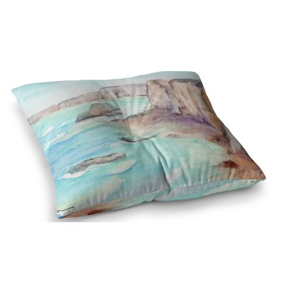 Cliffs at Normandie Travel by Cyndi Steen Floor Pillow Size: 23 x 23