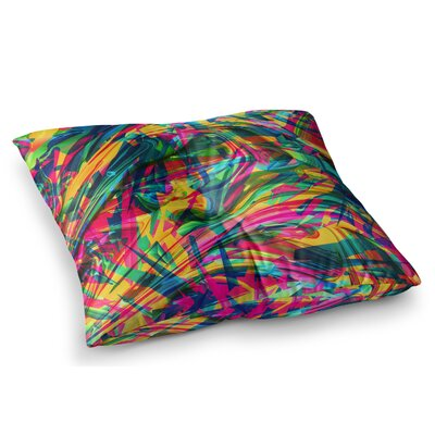 Wild Abstract Rainbow Illustration by Danny Ivan Floor Pillow Size: 26 x 26