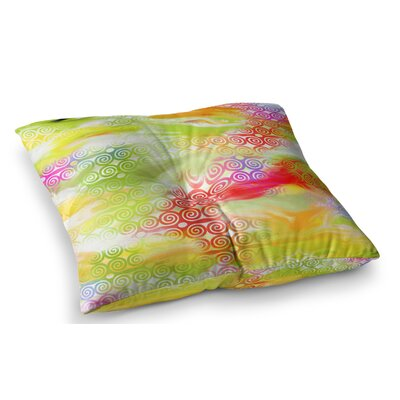 Locked Rams Horns Rainbow Abstract by Dan Sekanwagi Floor Pillow Size: 23 x 23