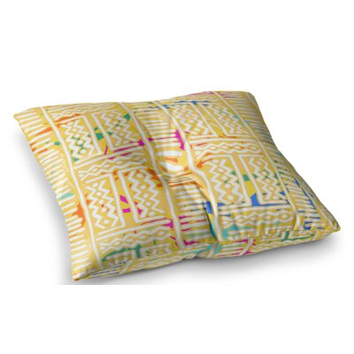 Lines and Zigzags Tribal by Dan Sekanwagi Floor Pillow Size: 23 x 23