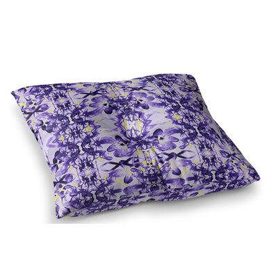 Tropical Orchid Dark Floral by Dawid Roc Floor Pillow Size: 23 x 23, Color: Purple/Lavender