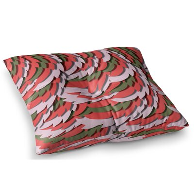 Wings by Akwaflorell Floor Pillow Size: 23 x 23, Color: Red/Green