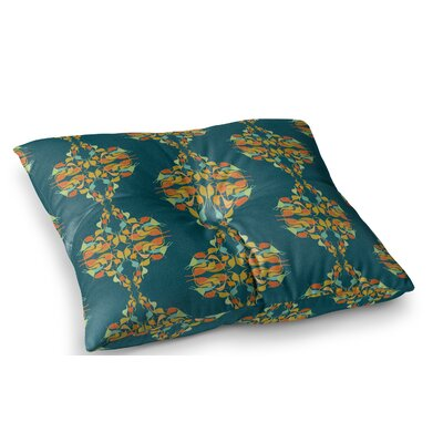 Turquoise Feast by Dan Sekanwagi Floor Pillow Size: 23 x 23