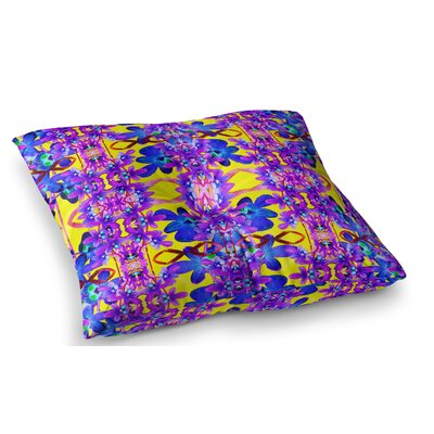 Tropical Orchid Dark Floral by Dawid Roc Floor Pillow Size: 23 x 23, Color: Yellow/Purple