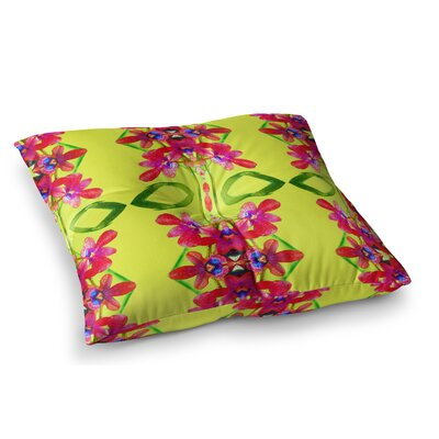 Tropical Floral Orchids by Dawid Roc Floor Pillow Size: 23 x 23, Color: Red/Yellow