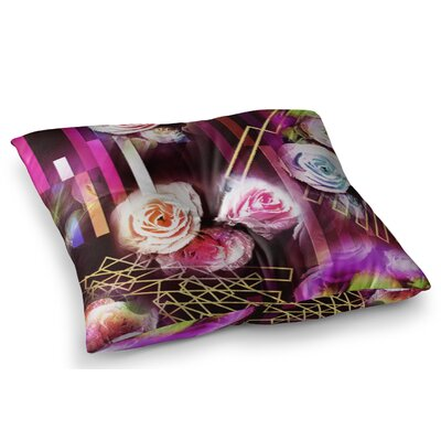Roses Floral Geometric Stripes by Dawid Roc Floor Pillow Size: 26 x 26
