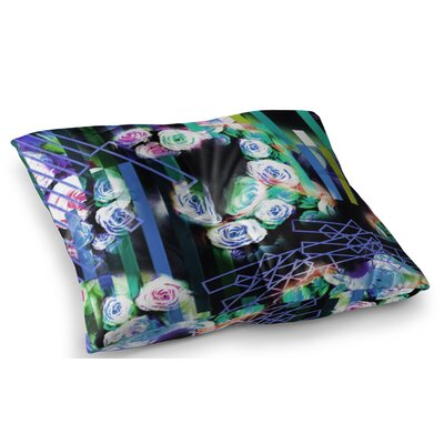 Cool Roses Floral Stripes by Dawid Roc Floor Pillow Size: 23 x 23