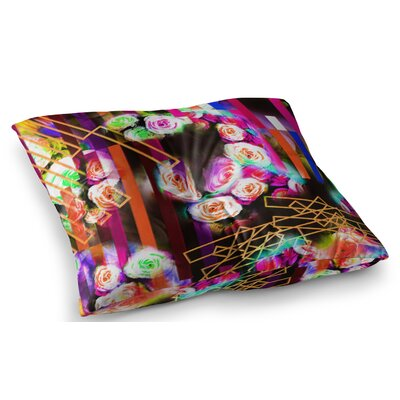 Colorful Rose Floral Geometric by Dawid Roc Floor Pillow Size: 23 x 23