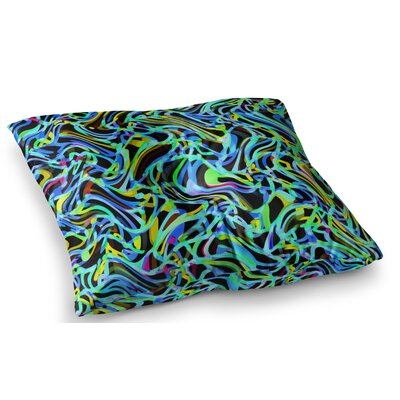 Camouflage FreeForm Movement Digital by Dawid Roc Floor Pillow Size: 23 x 23, Color: Blue