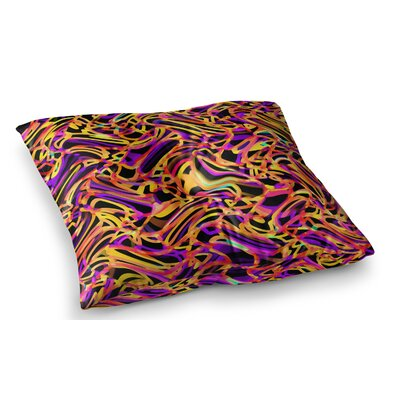Camouflage FreeForm Movement Digital by Dawid Roc Floor Pillow Size: 26 x 26, Color: Orange