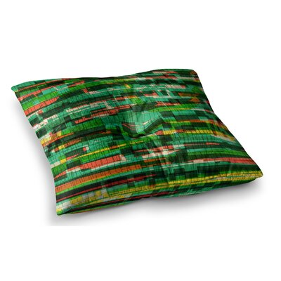 Squares Traffic by Frederic Levy-Hadida Floor Pillow Size: 26 x 26, Color: Green