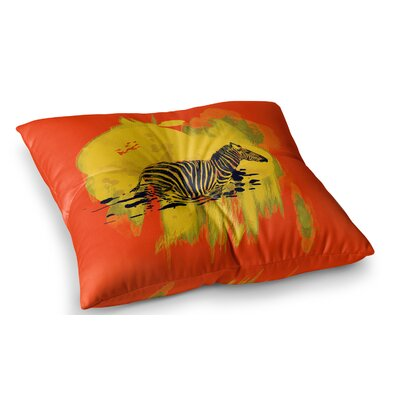 Watercolored Zebra by Frederic Levy-Hadida Floor Pillow Size: 26 x 26, Color: Red/Yellow