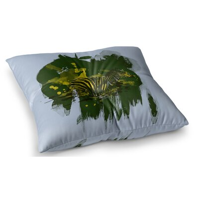 Watercolored Zebra by Frederic Levy-Hadida Floor Pillow Size: 26 x 26, Color: Green
