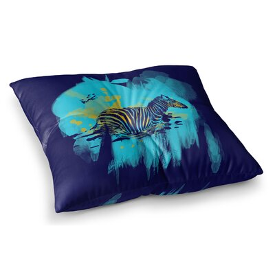 Watercolored Zebra by Frederic Levy-Hadida Floor Pillow Size: 23 x 23, Color: Blue